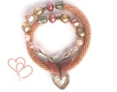 "Bead Crochet Necklace ""Rose ise"" Gift for her Pink  pastel   Jewelry  Beadwork"