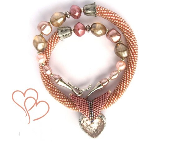 """Bead Crochet Necklace """"Rose ise"""" Gift for her Pink  pastel   Jewelry  Beadwork"""