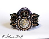 Time Keeper - Bead embroidered bracelet