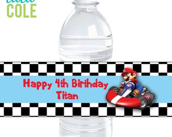 Super Mario Birthday Party   Super Mario Birthday   Mario Kart Water Labels   Super Mario Kart Birthday Party Decorations   LuluCole