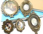 Vintage Oval Frames Made in Italy, Five Oval Ornate Frames