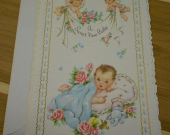 1950s Welcome Baby Card Vintage Unused Religious Paper Ephemera