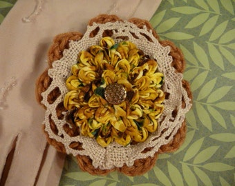 Ruched Flower Brooch, Crocheted Accessory, Vintage Lace, Tan and Yellow Jewelry