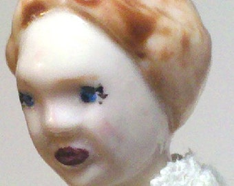 Lil' Miss Lacie Ann Velvet Porcelain Miniature Ornamental DollI in Ivory Vintage Embellished 7 pc Wardrobe