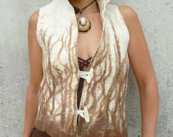Fairytale wedding ~ felt vest ~ Hand felted ~ One Of A Kind ~ Made to Order ~ Cappucino waistcoat