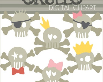 Skulls Clipart -Personal and Limited Commercial Use- Fun Skull Clipart - Instant Download