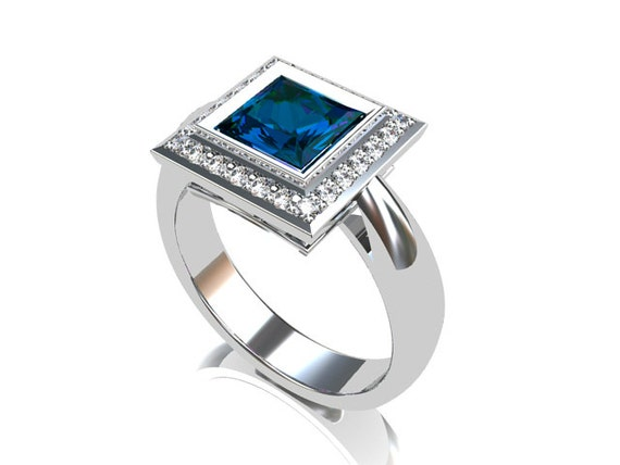 London blue topaz ring, Diamond, princess cut, halo, engagement ring ...