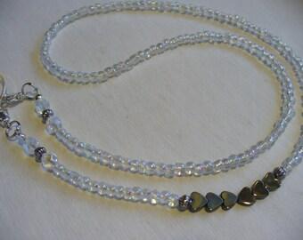 Hematite Hearts Clear Aurora Borealis Beaded Necklace, Eyeglass Holder, Eyeglass Chain,  Glasses Chains, Sunglasses, Eyewear