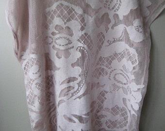 Pink Crochet Oversized Shirt/Cover Up