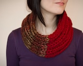 Knit cowl chunky red wool blend