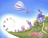 Floating away, cute whimsical quirky greeting card blank inside,