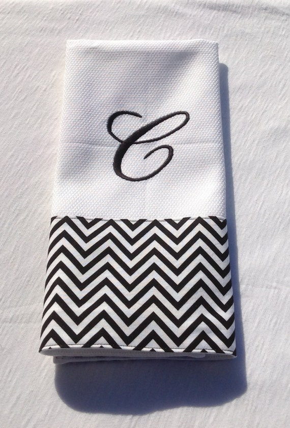 monogrammed embroidered kitchen towel dish by buniquedezigns