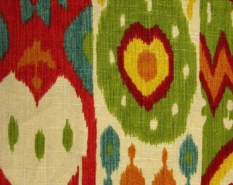 Red Ikat Fabric - Multi Color Upholstery Yardage - Linen Ikat Curtain Fabric - Green Orange Fabric - Red Yellow Ikat Pillow Material