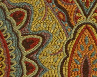 Ikat Upholstery Fabric by the Yard - Red Yellow Teal Fabric - Ikat Fabric for Furniture - Multicolor Fabric Yardage