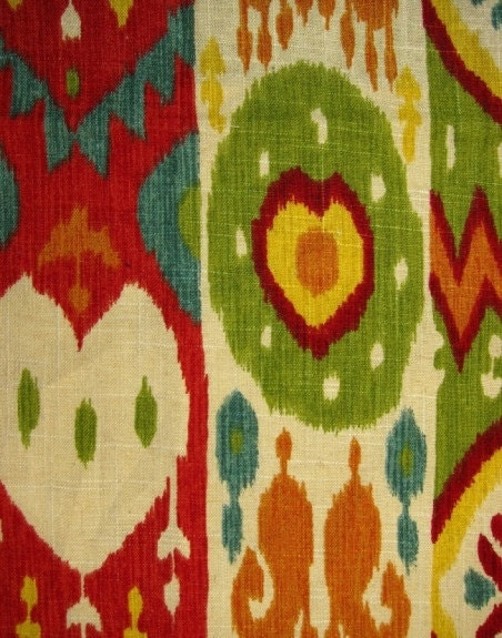 Red Ikat Fabric Multi Color Upholstery Yardage Linen Ikat