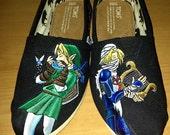 Legend of Zelda Shoes. Custom TOMS. Featuring Link and Sheik.