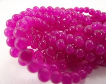 Malaysia Jade Round Beads, Fuchsia, Pink, 4mm, 16 Inch Strand, Whole Strand
