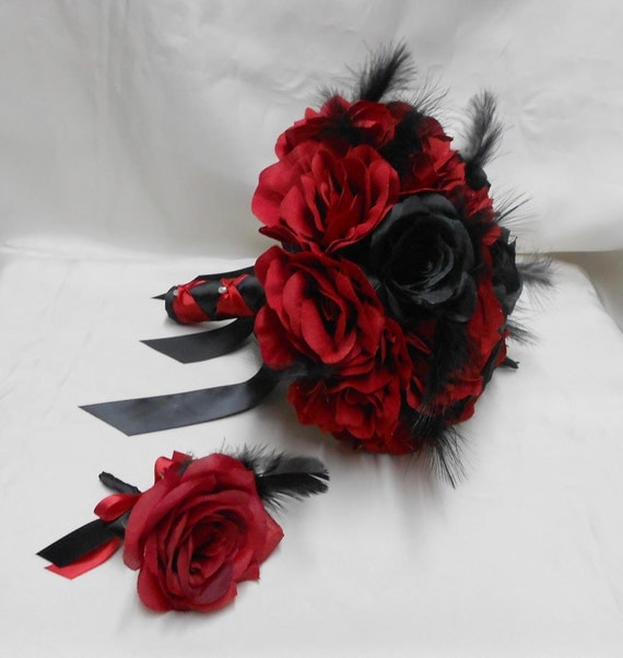 Wedding Bridal Bouquet Your Colors 2 Piece Red Black Rose
