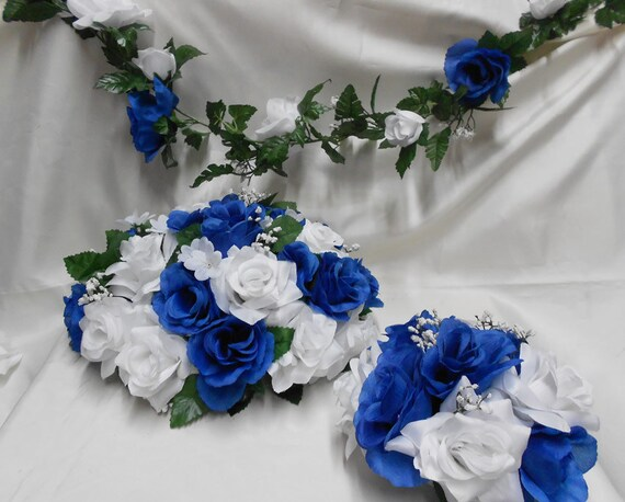 Your colors roya blue white roses wedding bridal centerpieces - Blue and white centerpieces ...