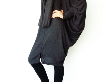 NO.57 Dark Grey Viscose Oversize Knitted Dress, Infinity Scarf Tunic Dress, Cocoon Day Dress