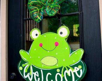 Summer Door Hanger: Frog Door Decoration, Summer Wreath, Frog Decor