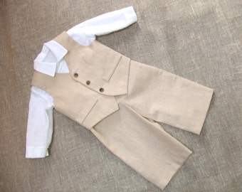 Baby boy ring bearer outfit boy linen suit kids first birthday natural clothes rustic wedding beach family photo formal SET of 3 light beige