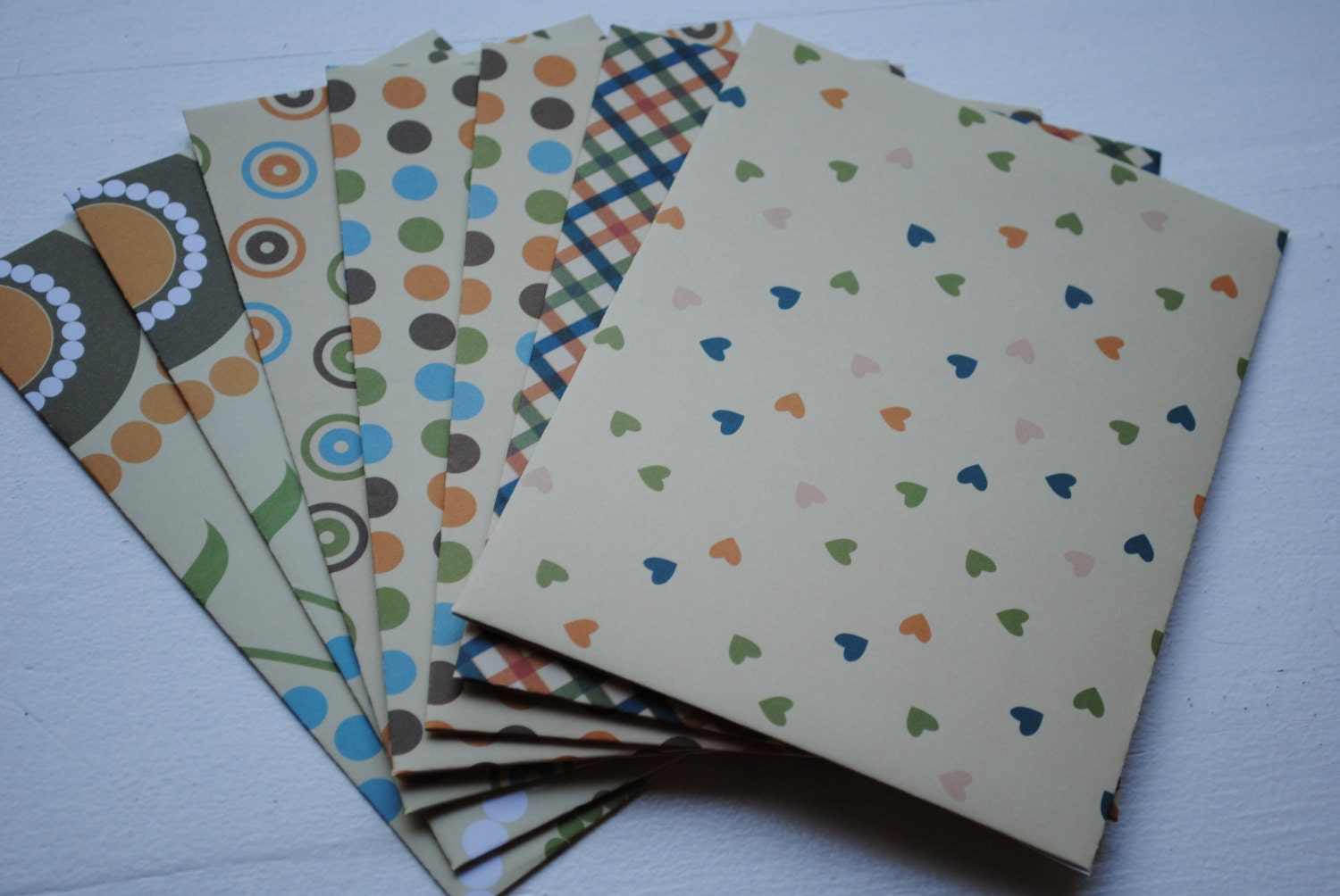 Buttery yellow patterned set of 8 handmade envelopes by paper for Homemade envelopes