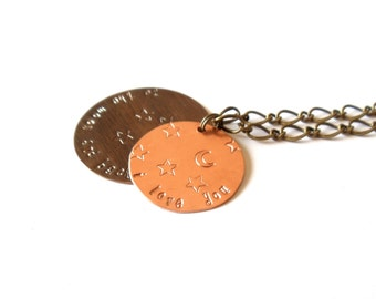 to the moon and back necklace // hand stamped jewelry // copper and brass