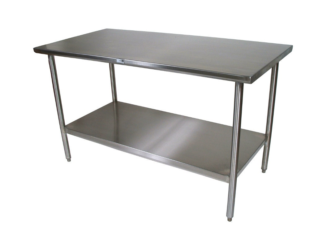 Stainless steel kitchen island table 24x36 with adjustable - Stainless kitchen tables ...
