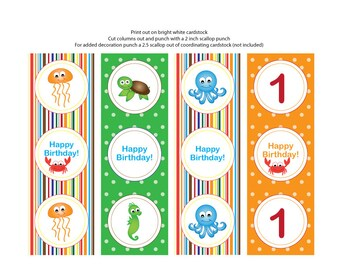 Under the Sea Theme Cupcake Toppers/Tags