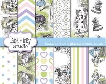 vintage alice in wonderland patterns - digital scrapbook papers - INSTANT DOWNLOAD