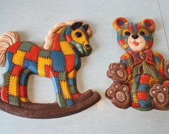 Patchwork vintage Rocking horse and teddy Bear Pair of Wall hangings -perfect for baby nursery or children'splayroom