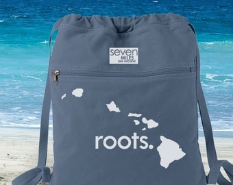 Hawaii HI Roots Canvas Backpack Cinch Sack