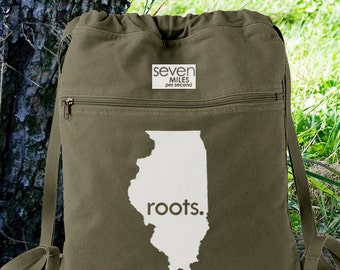 Illinois IL Roots Canvas Backpack Cinch Sack