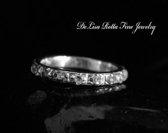 Recycled Silver Diamond Alternative Wedding Band Ring Anniversary Ring Stacking Ring