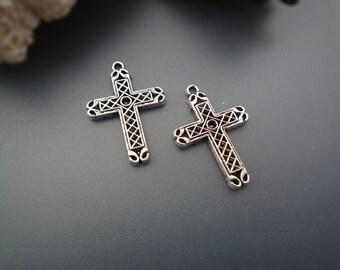 Antique Silver Cross Pendants - 6 pcs - DS339