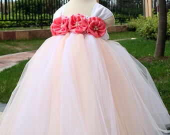 Flower Girl Dress Coral Rose tutu dress baby dress toddler birthday dress wedding dress 1T 2T 3T 4T 5T 6T
