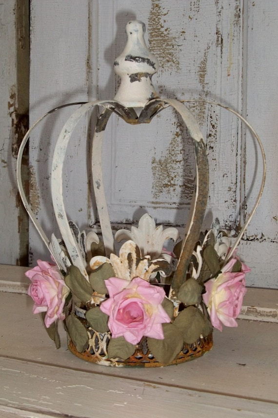 Large Metal Crown French Inspired Distressed White And Rusty