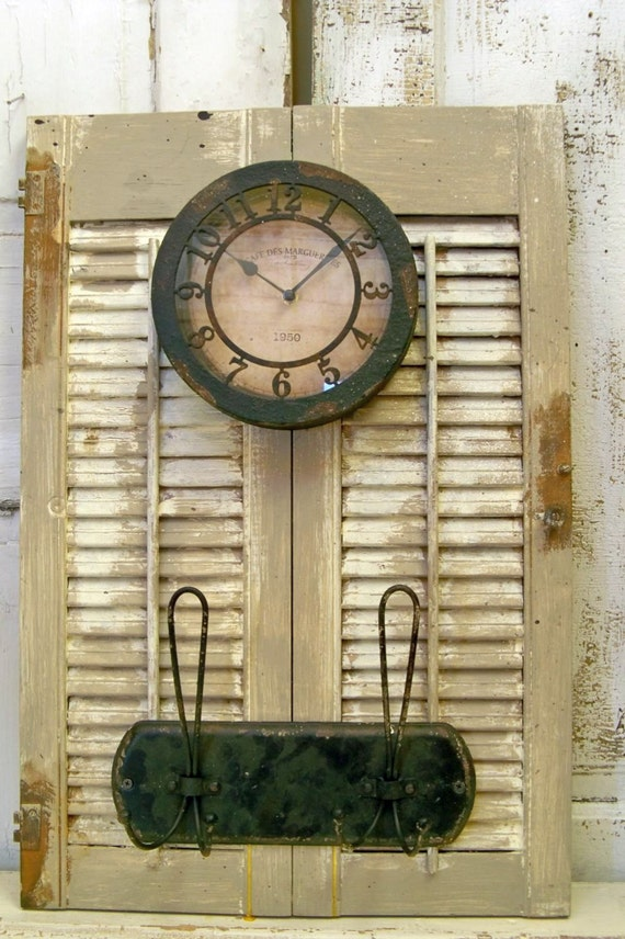 Wood Shutter Adorned Clock Coat Rack Distressed Rusty Metal