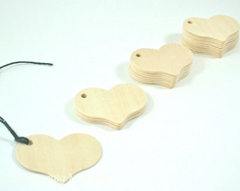 25 Heart Wood Gift Tags - Wedding Favors, Valentines