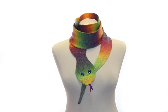 Snake Scarf / Scarf Knit / Multicolor / Knitted rainbow scarf / halloween / Ready To Ship
