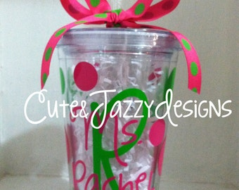 Personalized 16 oz. Polka Dot, Clear, Acrylic, BPA Free Tumbler with Straw