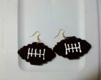 Plastic Canvas Football Earrings