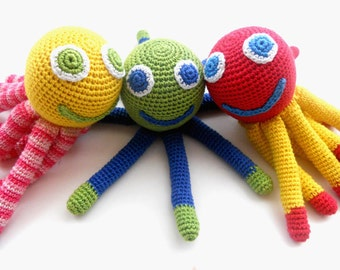 Crochet Octopus toy Baby Teething toy Amigurumi Octopus Baby rattle Shower gift Organic  developing toy