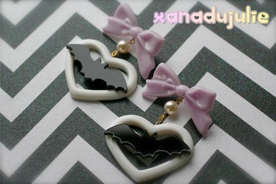 Kawaii Bat Love Earrings