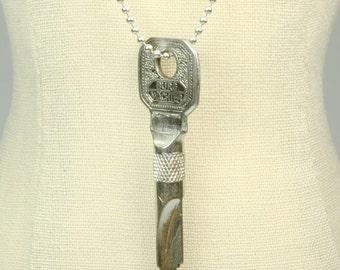 Unusual Twisted Antique Key Ball Chain Necklace - Biker Rocker Edgy Avant Garde