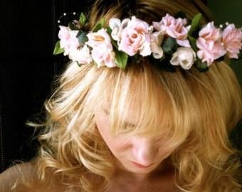 Flower wedding headband pink roses crown bridal woodland head piece