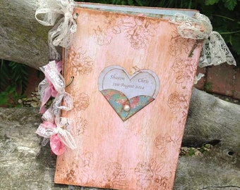 Love heart Wedding Guest Book - Love heart theme In vintage rustic scrapbook style