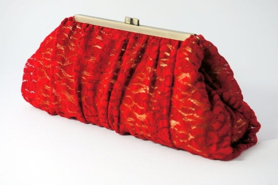 Red & Gold Lace Clutch Purse - Romantic Bridesmaid/Wedding/Evening Handbag - Includes Crossbody Chain - Ready to Ship