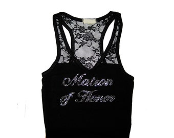 Bridesmaid Lace Tank Top Shirt. Sizes Small to Large. Black and White. Bride. Bridesmaid. Maid of Honor. Matron of Honor.